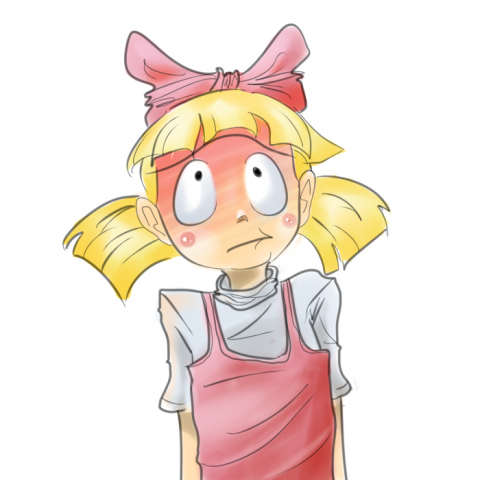 embarrassed cartoon girl with red cheeks