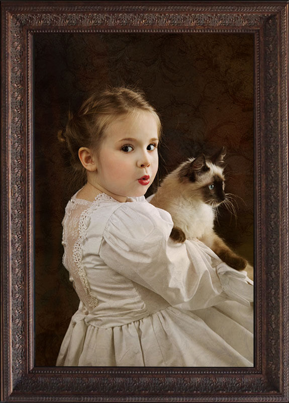 framed master portrait girl and cat
