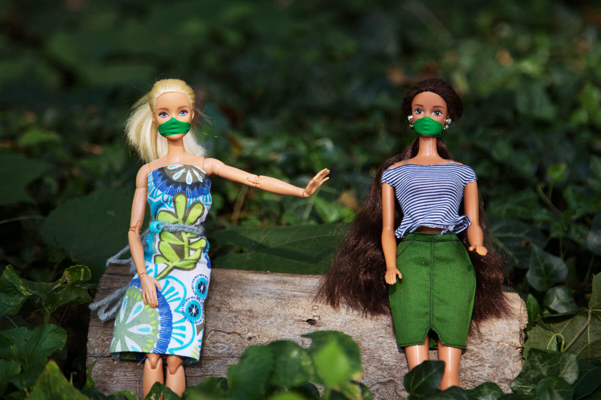 masked barbie's practicing social distancing